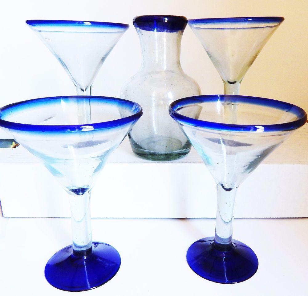 Set 4 Mexican Hand Blown Cobalt Blue Rim Base Margarita Martini Cocktail Glass Cocktail Glass Mexican Glass Margarita Martini