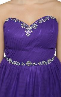 Purple Plus Size Strapless Long Homecoming Dress with Stone Neckline and Soft Skirt
