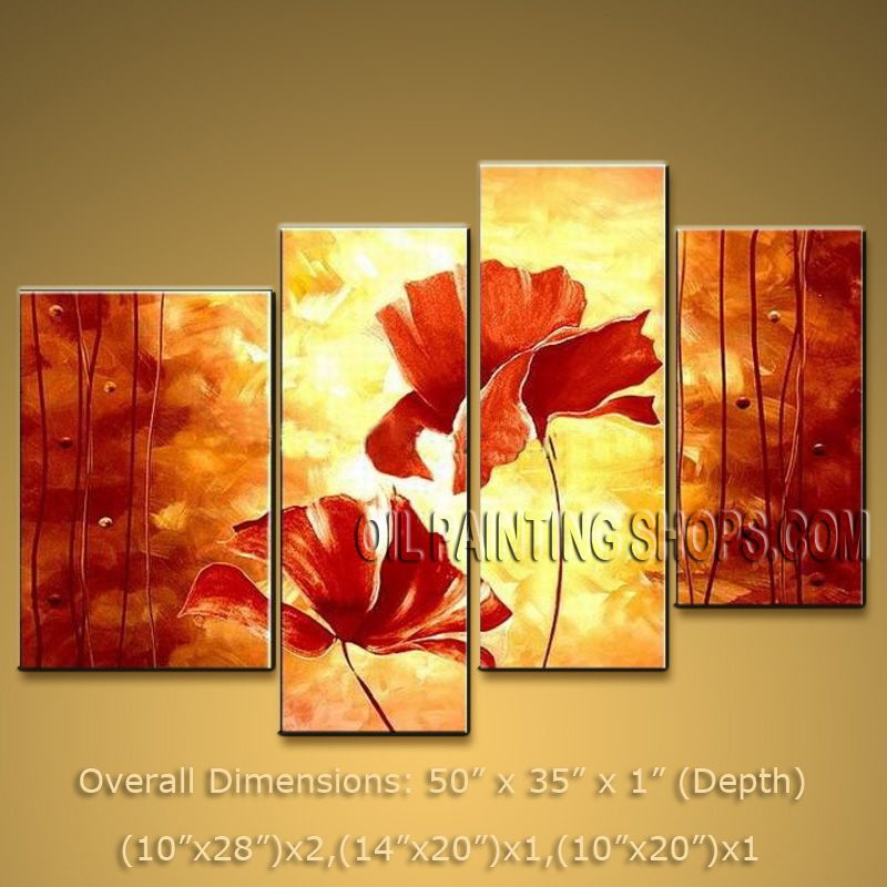Modern art · 4 pieces contemporary wall art floral painting