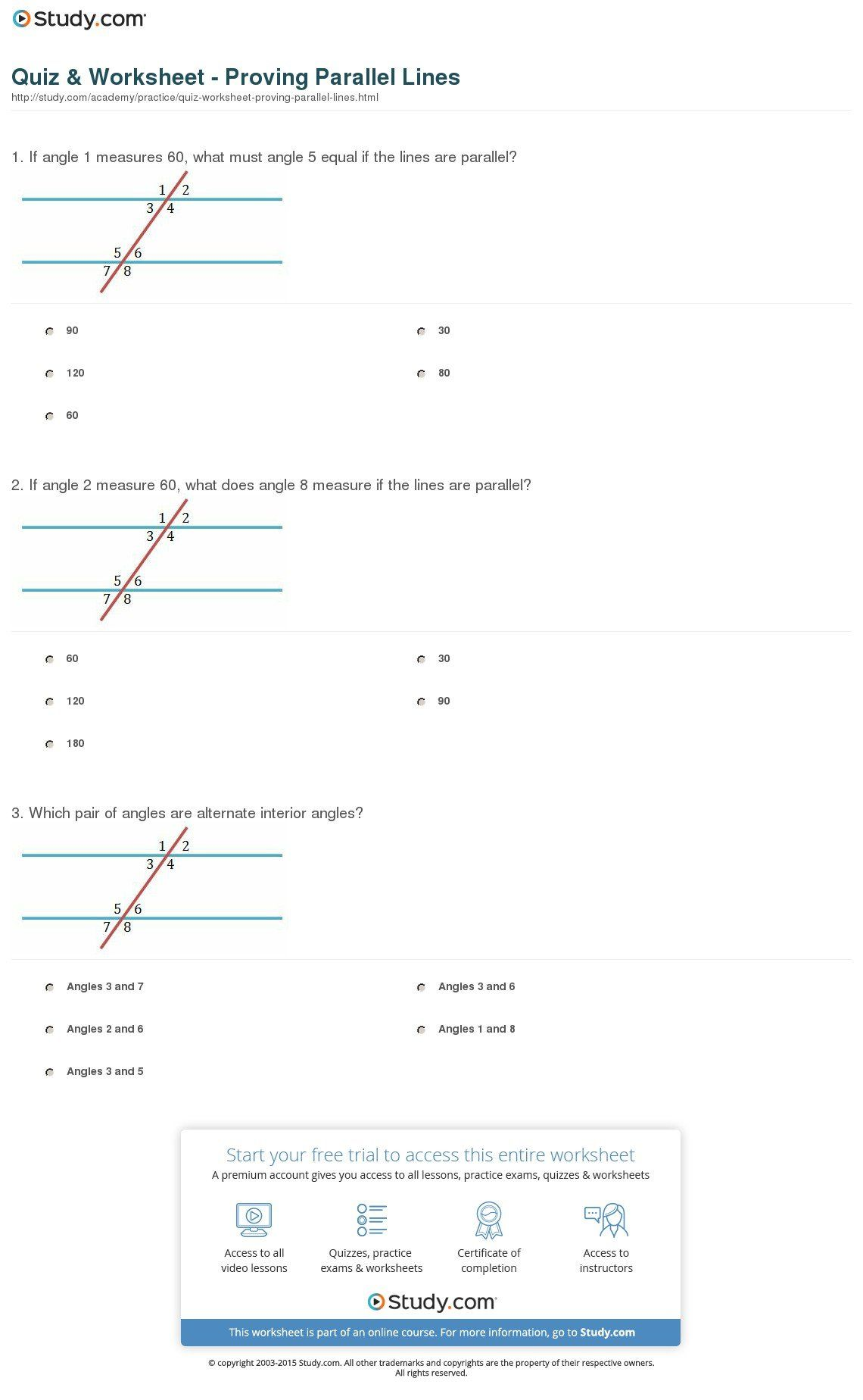 The Proving Parallel Lines Worksheet With Answers Template