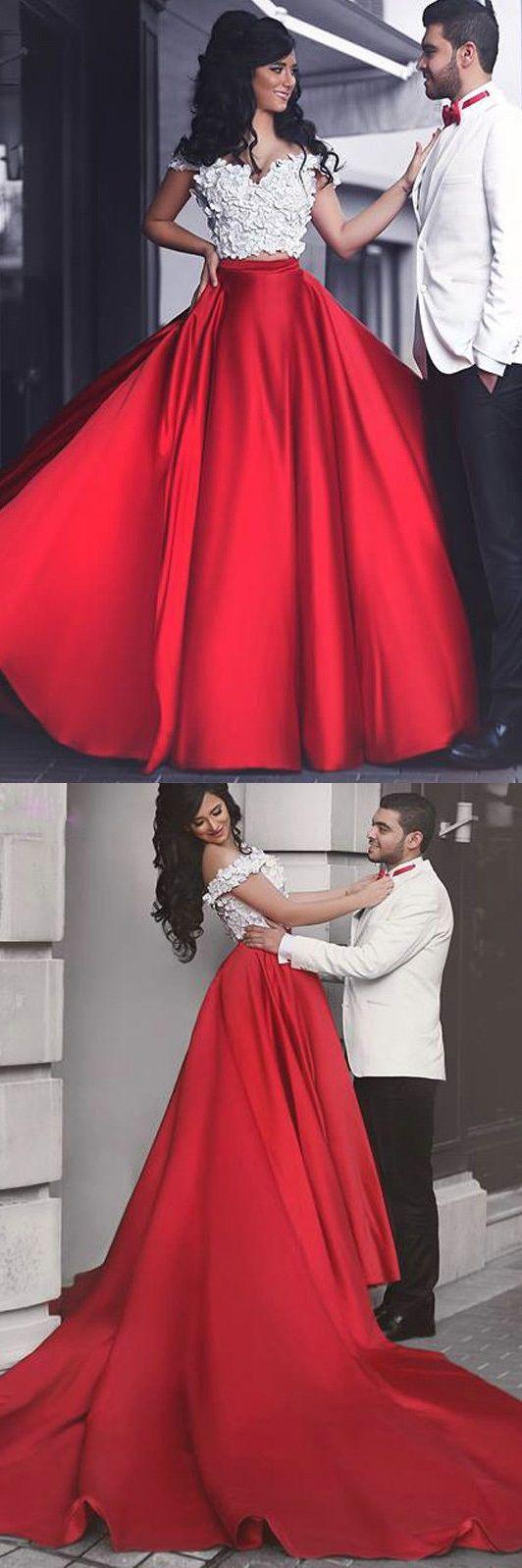 Chic flowers long red satin prom dress wedding jewelry