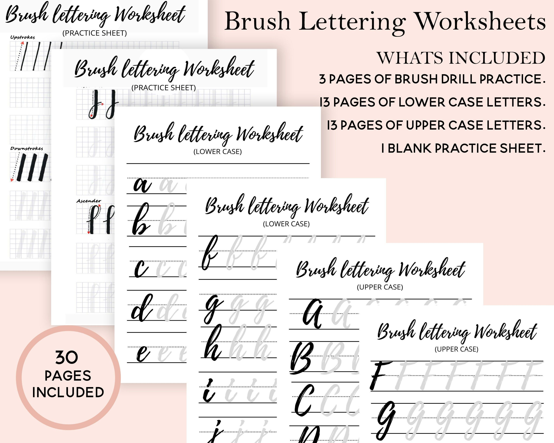 Brush Lettering Worksheets Hand Lettering Practice