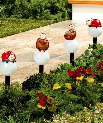 Solar Yard Lights, Ladybugs Solar Garden Stakes, Set Of 4 By ABC. $24.99. A  Set Of 4 Whimsical Ladybug Solar Stakes Brings Light And Fun To A Flower  Bed Or ...