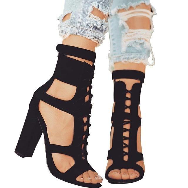 b3d6dbbe07 Parkside Wind Flock Women Sandals Gladiator High Heels Strap Pumps Lace-up  Female Shoes Fashion