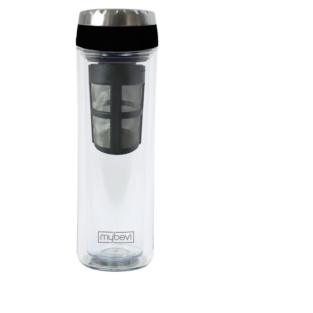 Mybevi 12oz Cold Brew Coffee Travel Mug Black Clear