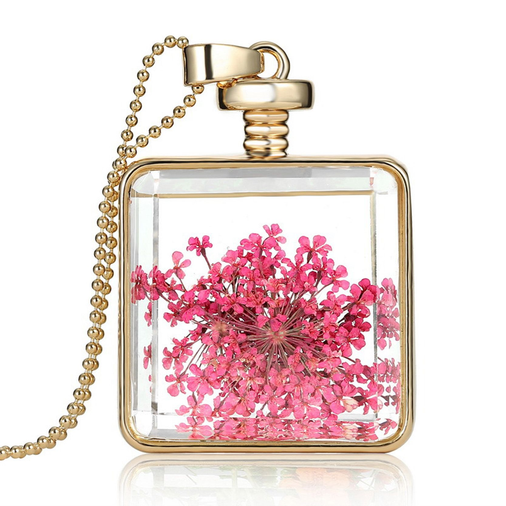 2017 Pink Dried Flower Necklaces Jewelry Square Glass Pendant Necklace Fashion Long Golden Chain Statement Necklace for Women #Affiliate