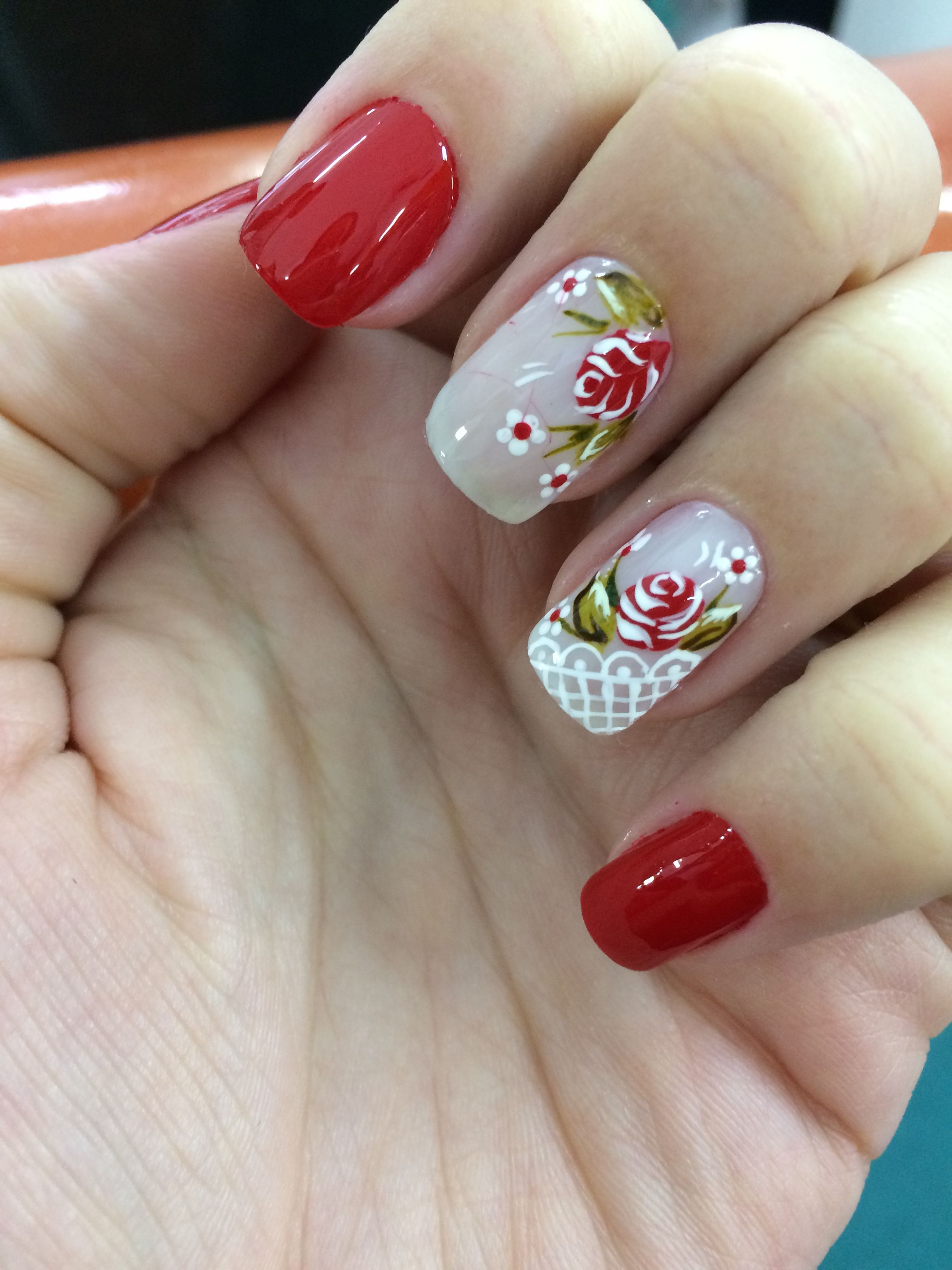 Floral Nail Art Two Accent Nails With Pretty Flowers Uas