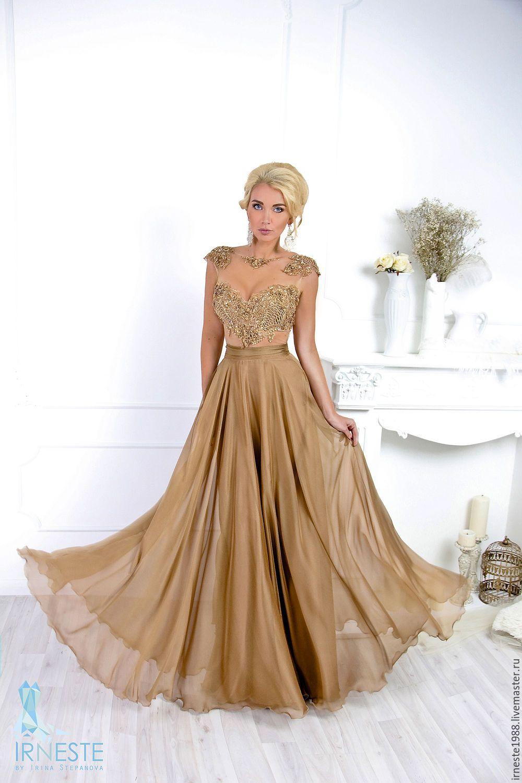 Золотистое платье вечернее