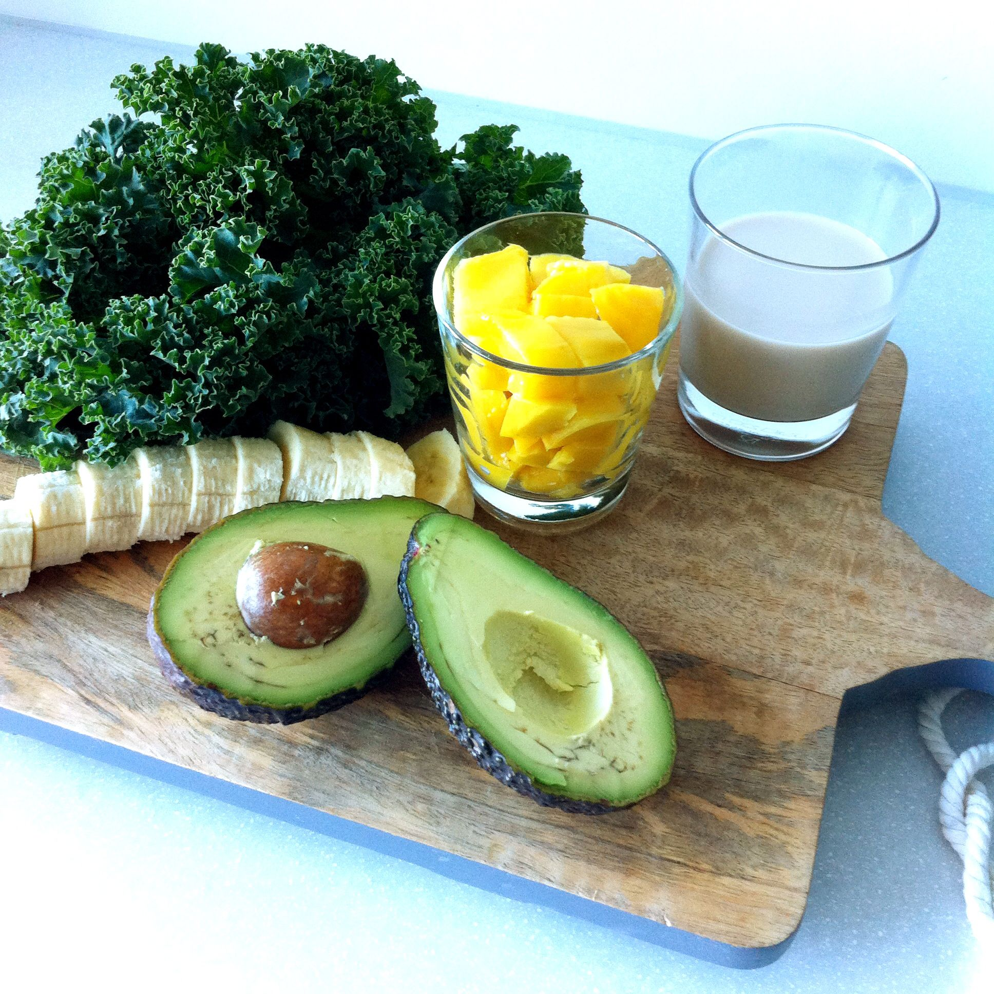 #smoothie #homemade - #kale #banana #avocado #mango #milk