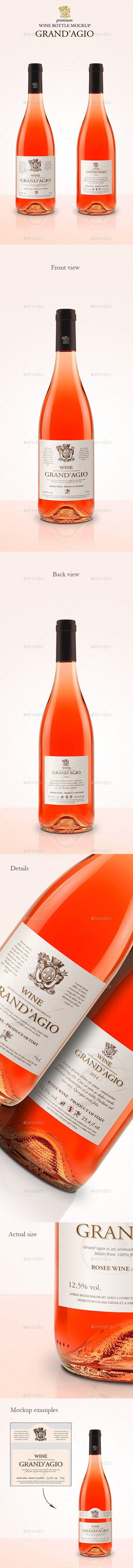 Premium Ros Wine Mockup Wine Label Design Packaging Mockup Grape Labels