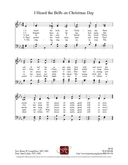 I Heard the Bells on Christmas Day - Hymnary.org   Words, Wonderful words, Mercy
