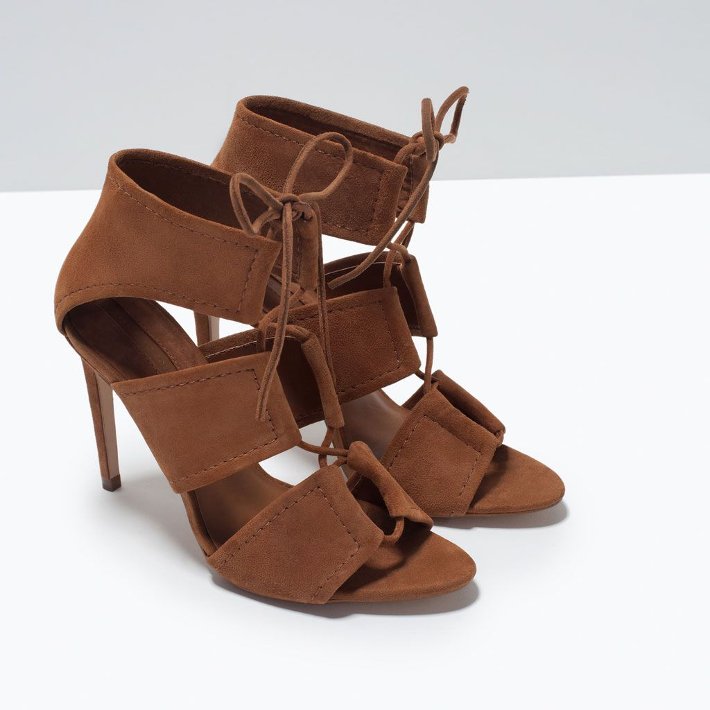 159721b49d4474 Image 5 of WRAP AROUND LEATHER SANDAL from Zara 449.90 HRK High-heeled  sandals in whisky colored leather. Wide wrap around straps. Stiletto.
