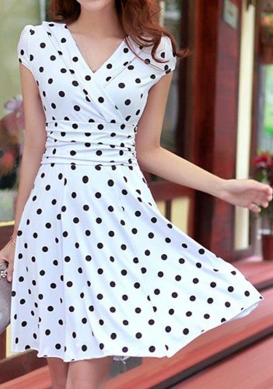 Super vestido de bolinha manga curta elegante e sensual. | looks  PK43