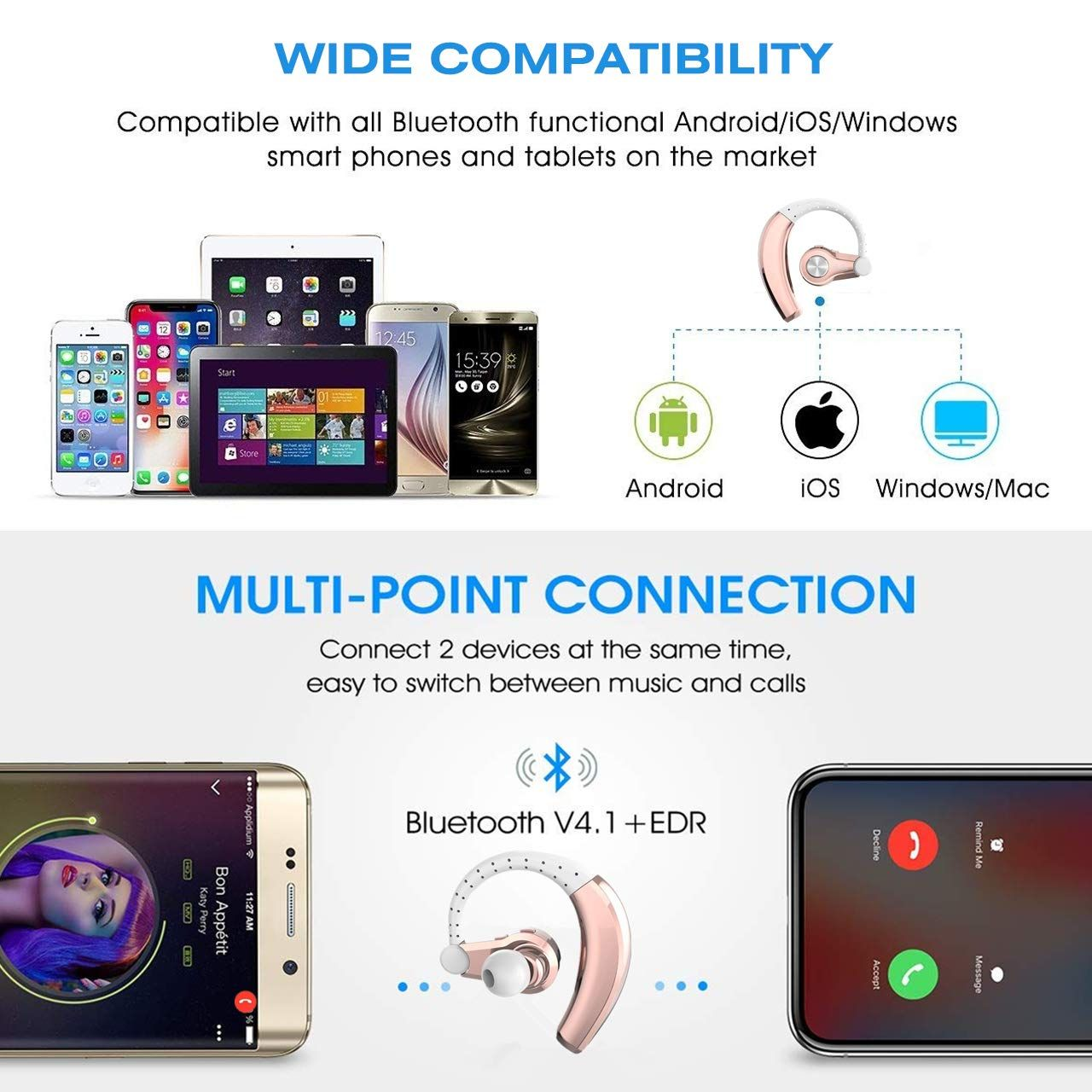Bluetooth Headset Ponybro Bluetooth Earbuds With Mic Voice Reminder Caller Id Hd Sound In Ear Earphones Bluetooth Earpiece Bluetooth Earbuds Earbuds With Mic