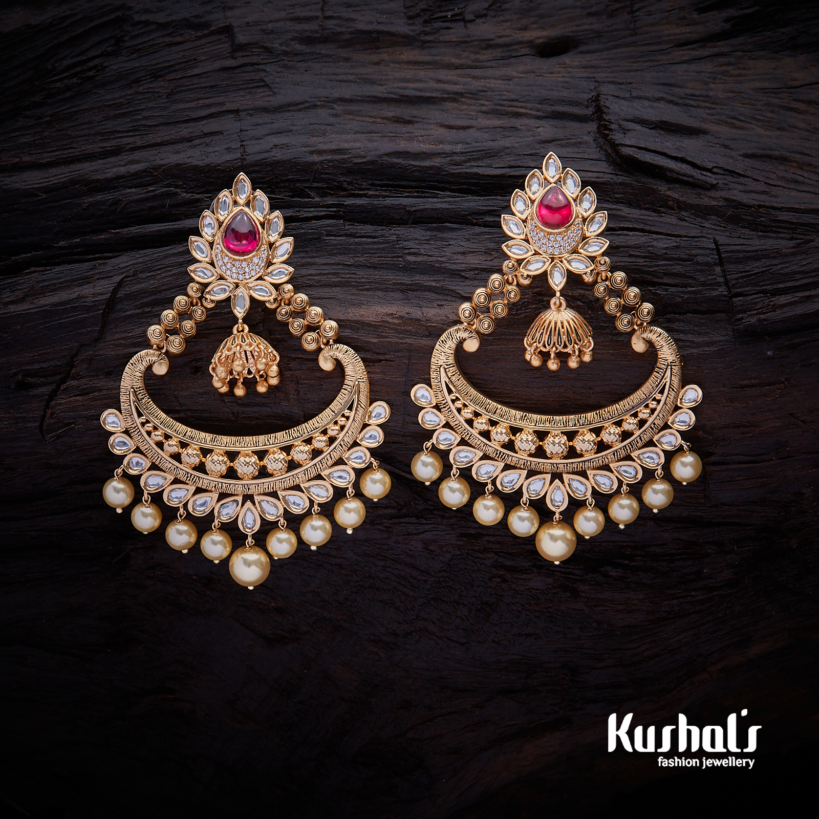 6d7d814416220a Trendy Design CZ #Zircon #earrings studded with White stones, plated with  #gold Polish.#kushalfashionjewellery