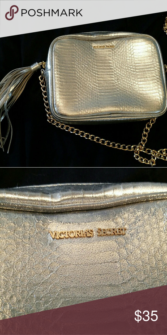 Victoria s Secret Purse- Silver and Gold Silver and Gold purse. Gold  hardware, silver snakeskin. Gently used, extremely clean. 42ddc94303