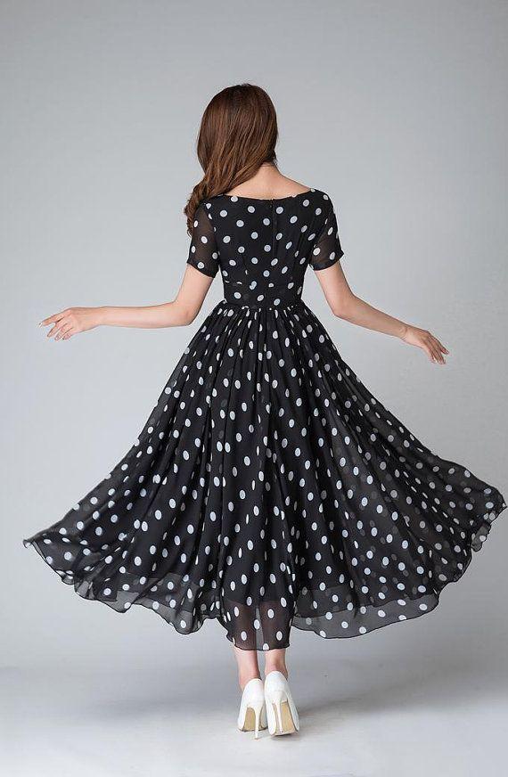 f0baff85 Polka dot dress, black and white dress, empire waist dress, maxi ...