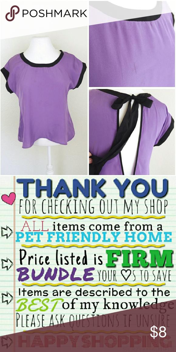 3ec50fc33f5 CUTE purple blouse CUTE purple blouse with black trim, tie back neck ...
