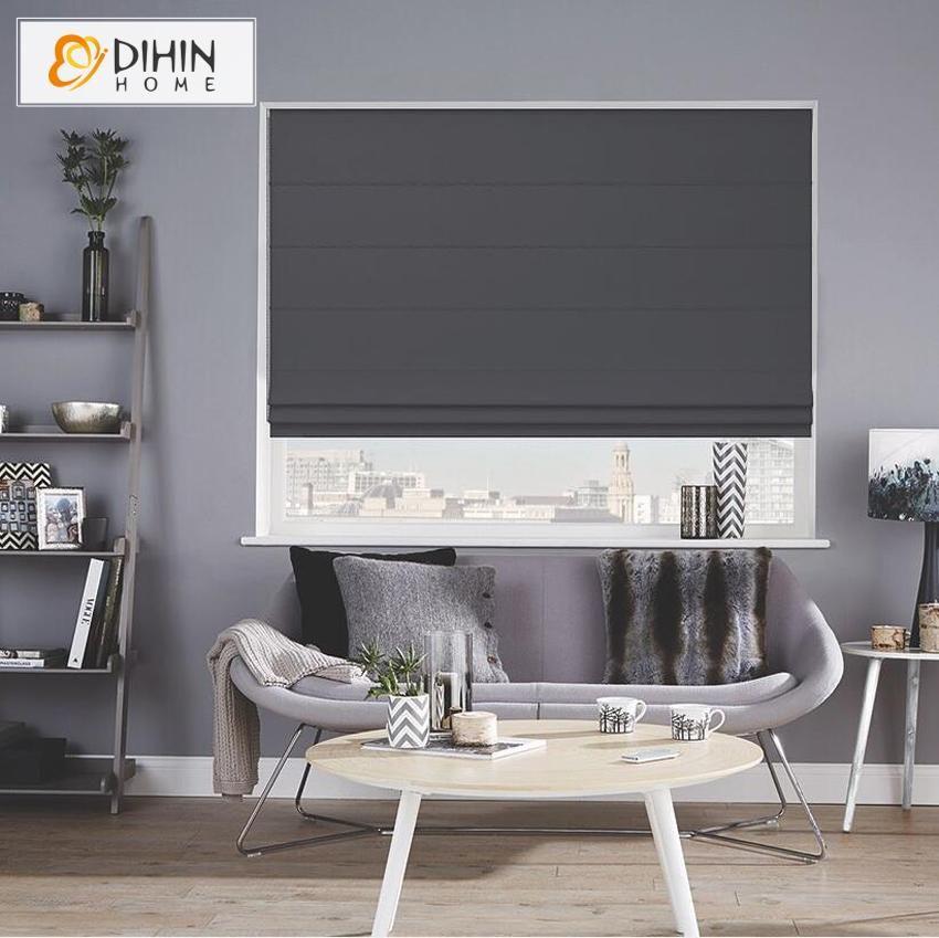 DIHIN HOME Modern Dark Gray Color Roman Shades ,Easy