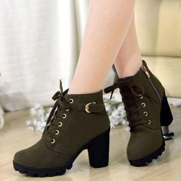 d61448c6241a Women Girl High Top Heel Ankle Boots Winter Pumps Lace Up Buckle Suede Shoes