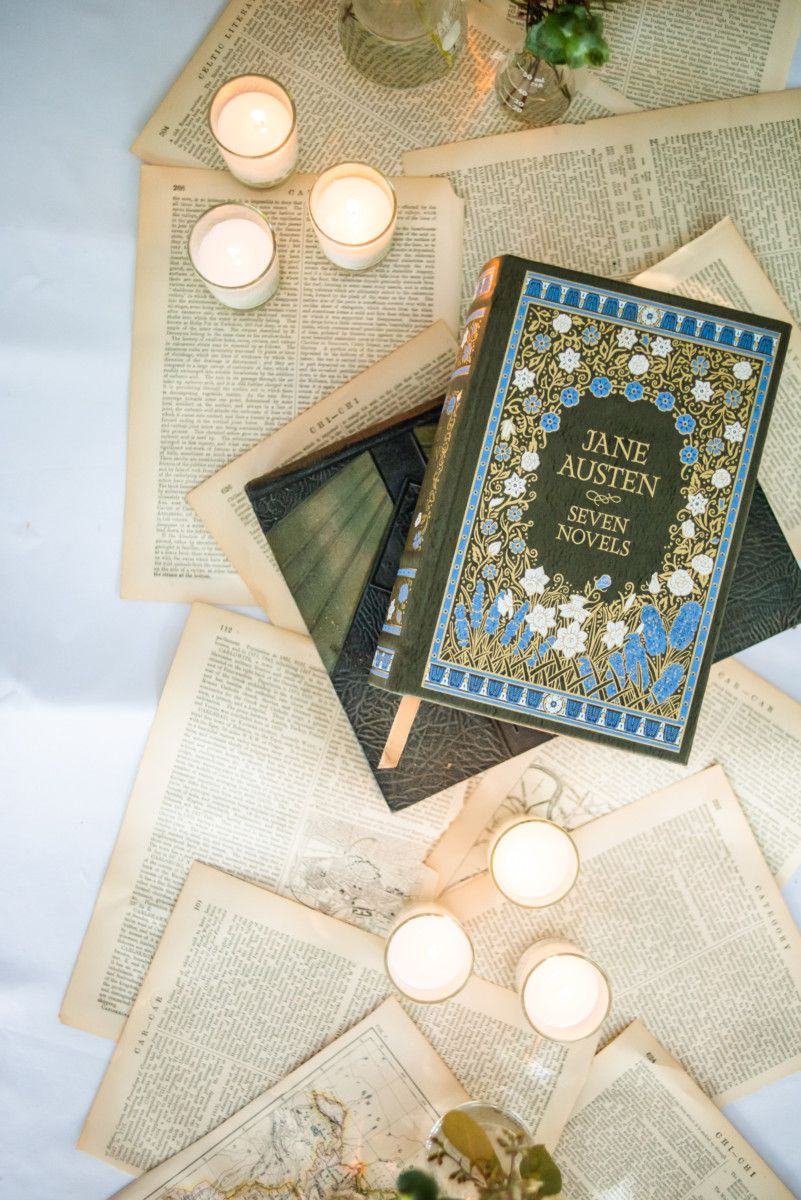 Book Themed Wedding with Pages on Tables View Point at