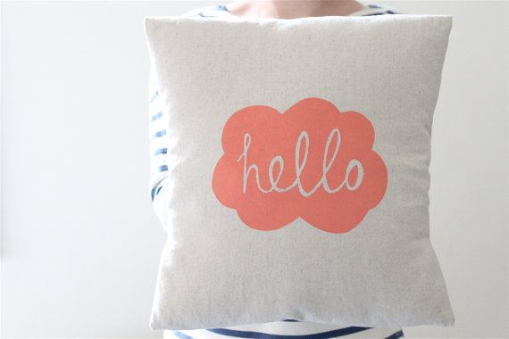 Hand Printed Linen Cushion Cover - Hello Milky