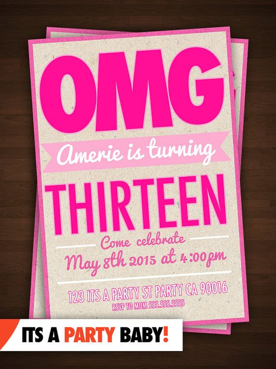 13th Birthday Party Invitation Thirteenth Birthday Bash – Thirteenth Birthday Invitations