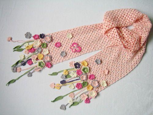 Crochet Flower Scarf Crochet Yarn Crochet