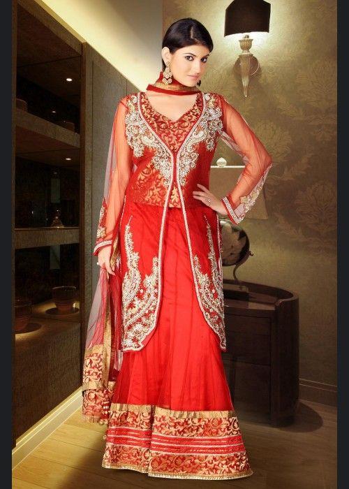 Buy Valentine Divine Salsa Red Lehenga Choli US$ 367.15 Shop at - valentine-gift-wardrobe.blogspot.co.uk/2014/02/buy-valentine-divine-salsa-red-lehenga.html