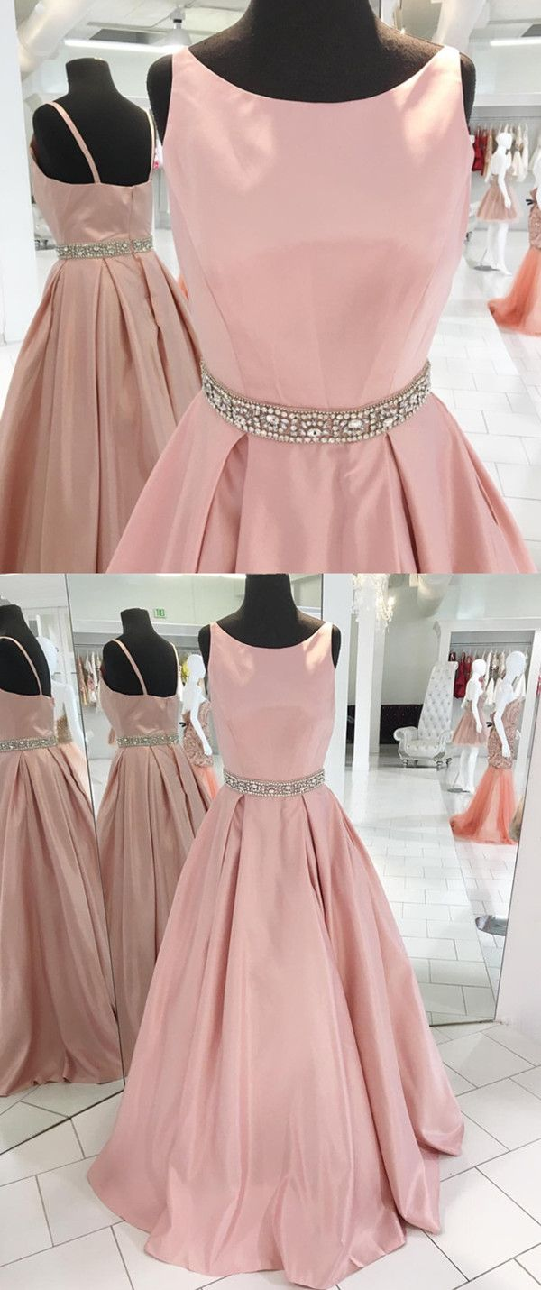 Sexy Spaghetti Straps Long Pink Satin Prom Dresses Beaded Sashes