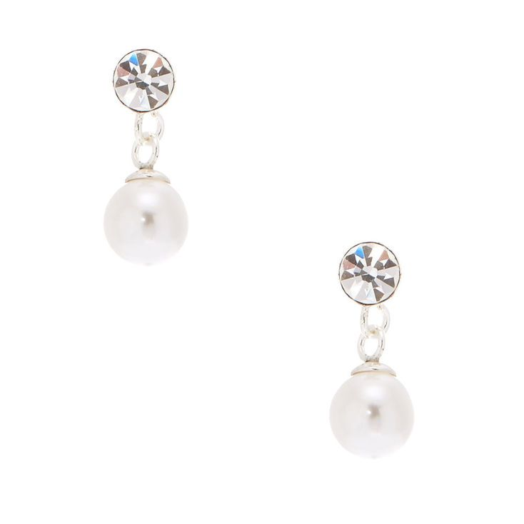 b0129a1cb Claire's Sterling Silver 5MM Pearl Drop Stud Earrings in 2019 ...