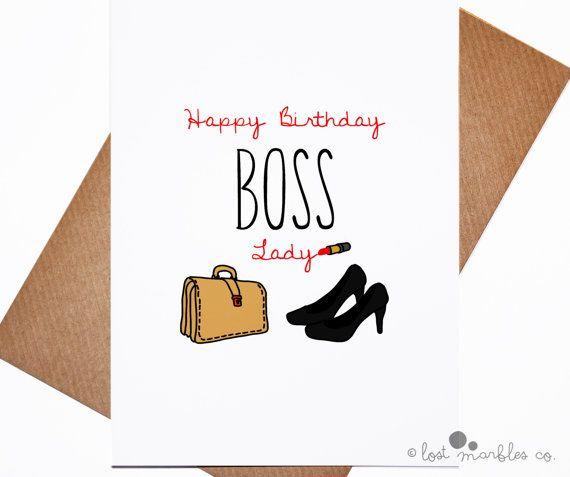 Boss Birthday Card Her Birthday Boss Birthday She Boss