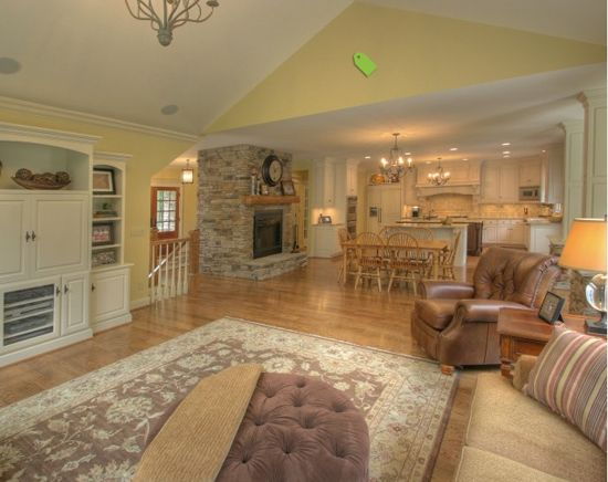 Cathedral Ceiling Meets Flat Ceiling Family Room