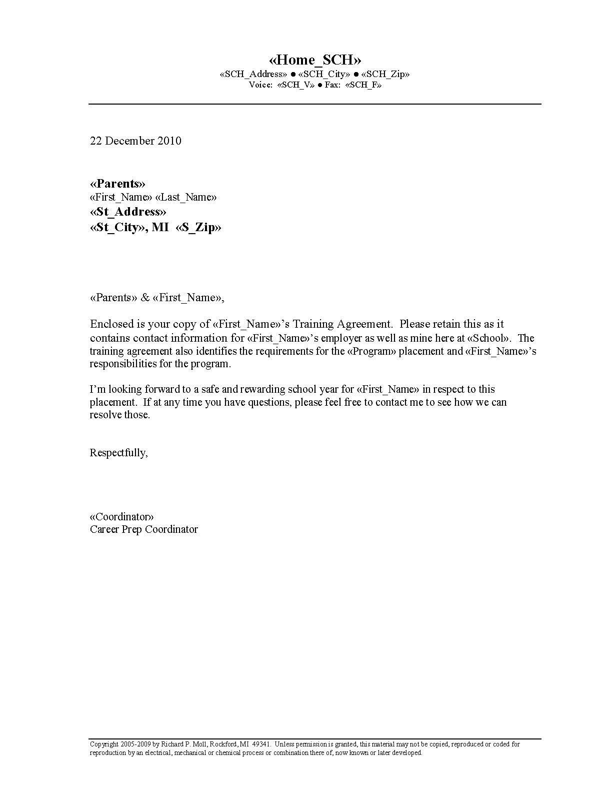 Printable Sample Letter Of Agreement Form Letter Templates