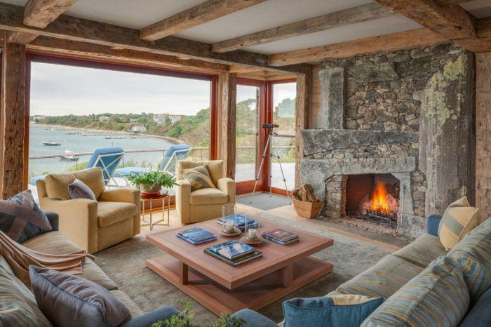 ▷ 1001 + conseils et idées pour aménager un salon rustique Salons - deco maison avec poutre