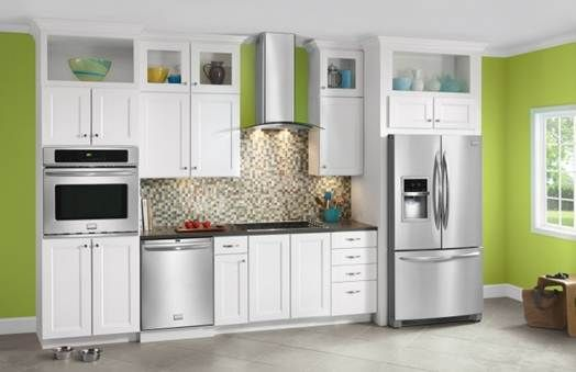 Frigidaire Gallery Kitchen With White Cabinets And Smudge Proof Stainless  Steel Appliances.