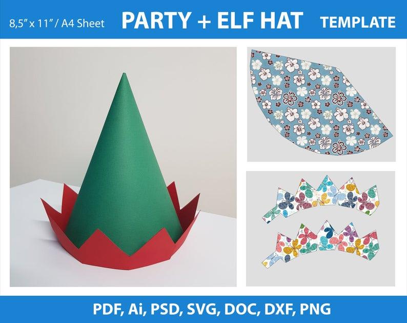 Elf Hat Party Hat Template Pdf Ai Doc Psd Png Svg Dxf Etsy Party Hat Template Hat Template Elf Hat