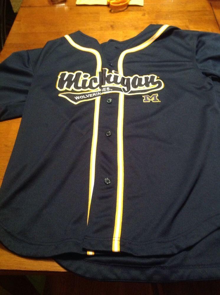 Michigan Wolverines Blue Baseball Jersey Men S Medium Um Baseball Jerseys Baseball Jersey Men Jersey