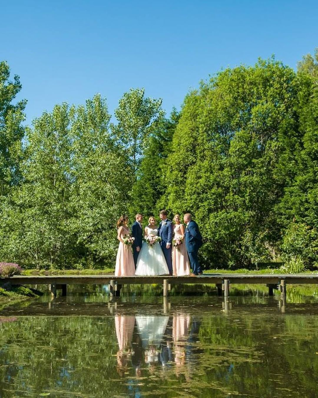 Water, a bridge and a beautiful backdrop of trees make for ...