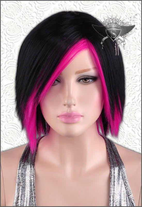 A Short Black And Pink Wig Pink Short Hair Hair Styles Pink Hair