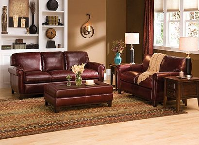 Raymour And Flanigan Jackson Traditional Leather Set Burgundy Living Room Burgundy Couch Living Room Burgundy Sofa Living Room