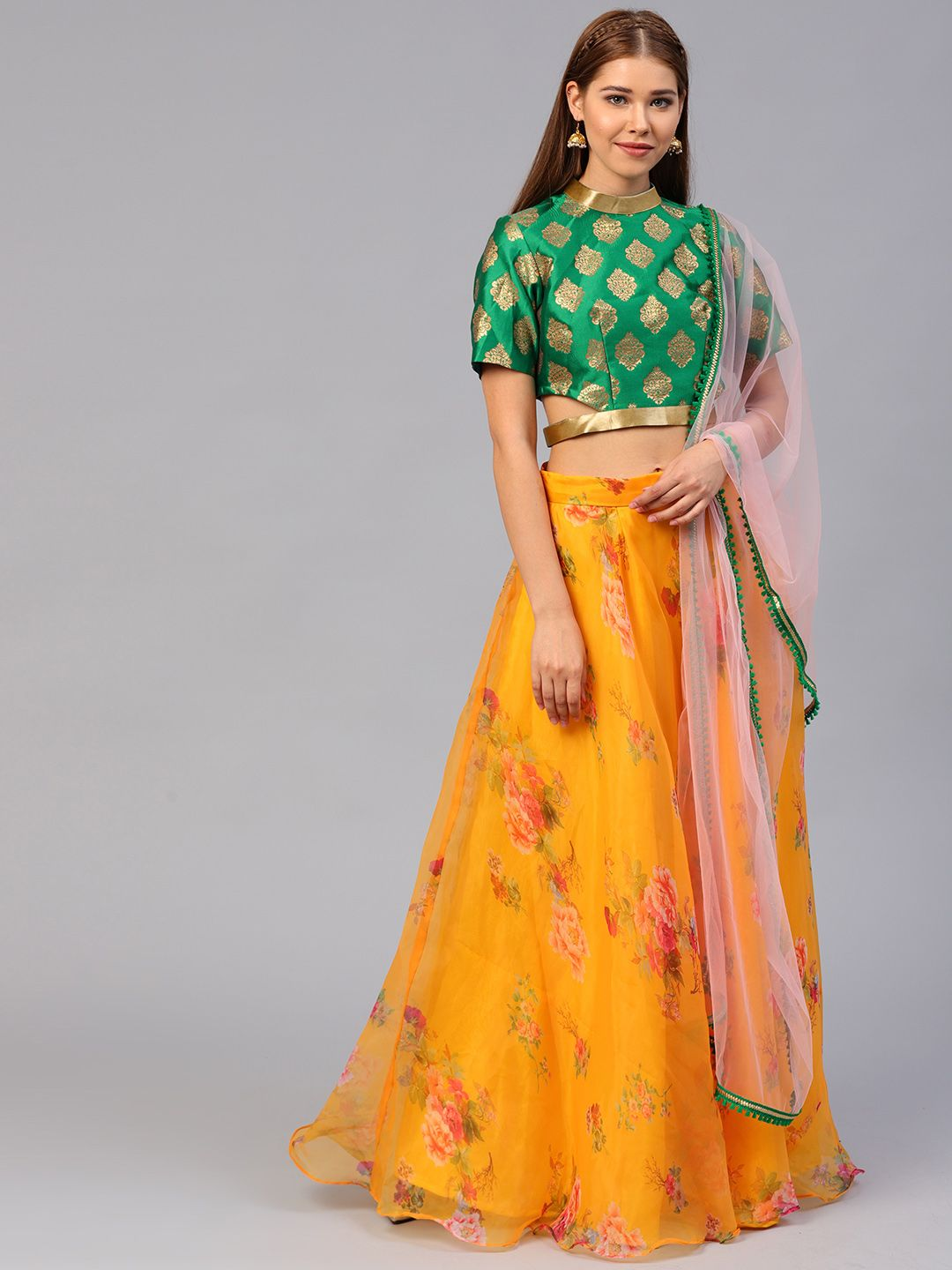 08a6faa232f Inddus Mustard Yellow   Green Semi-Stitched Lehenga   Unstitched Blouse  with Dupatta