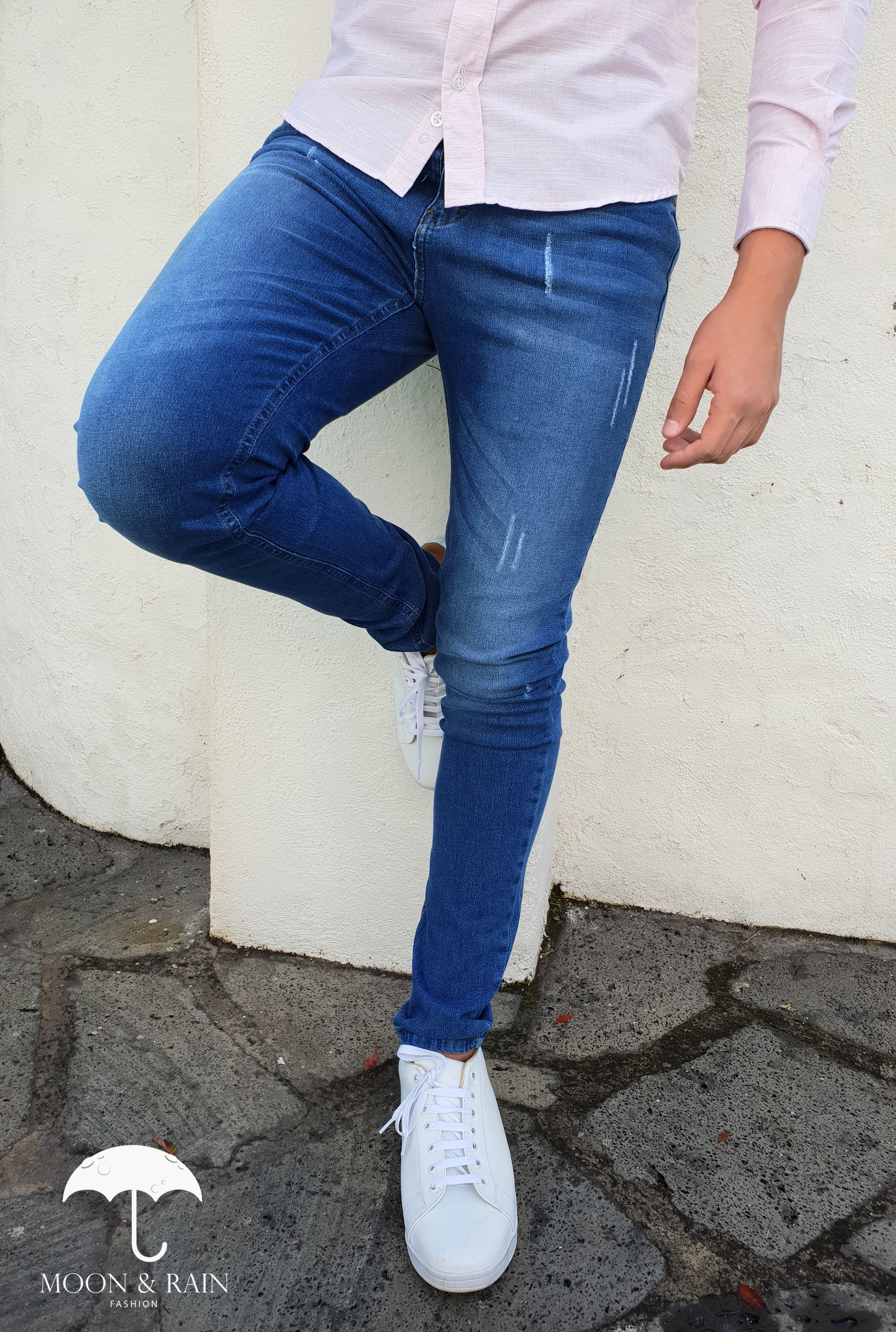 Pantalon De Mezclilla Azul Con Rasgadura Ropa Para Hombres Jovenes Vestimenta Casual Hombres Ropa De Moda Hombre