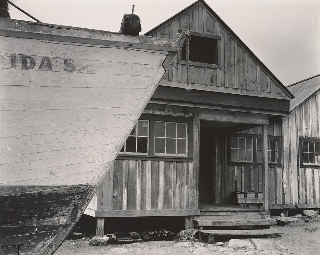 "July 1930 Cannery, Point Lobos [house with ship ""Idas"" in foreground] by Edward Weston"