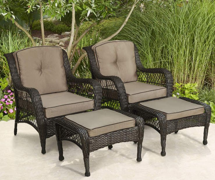 Tremendous Pinehurst 4 Piece All Weather Wicker Patio Chair Ottoman Machost Co Dining Chair Design Ideas Machostcouk