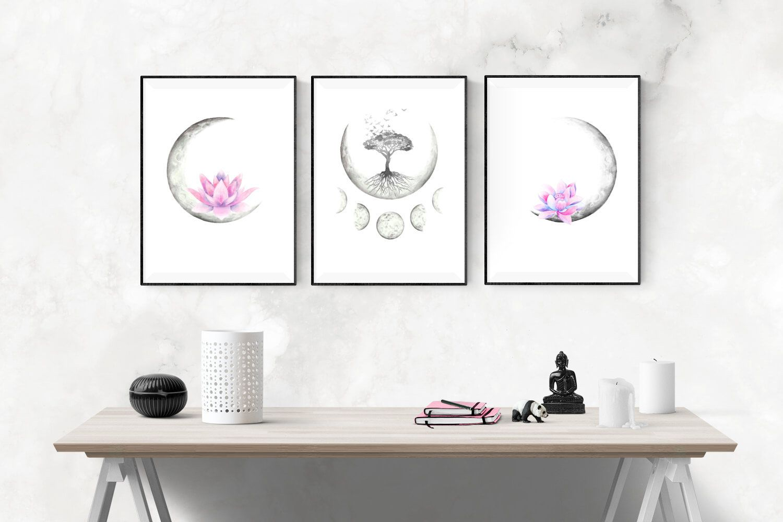 Bedroom Wall Decor Yoga Wall Decor Celestial Watercolor Moon Phases Printable Wall Art Boho Moon With Lotus Flowers Tree Of Life Art