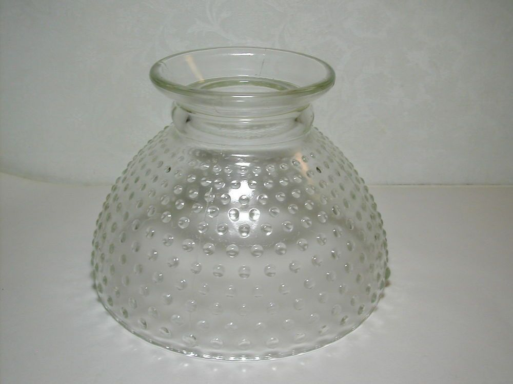 Vintage Clear Glass Shade for Hurricane Lamp Hobnail Pattern Minty Condition