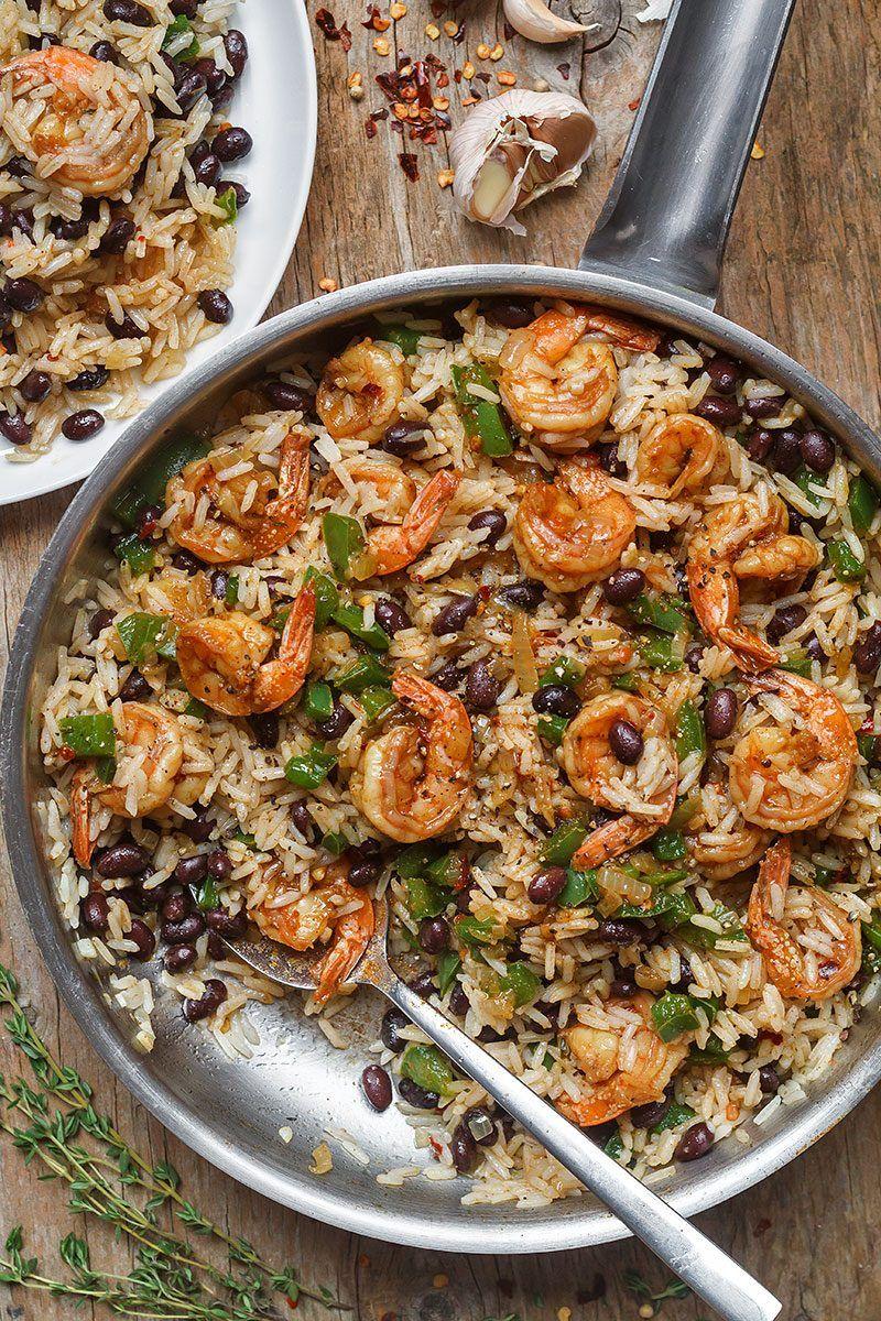 Spicy Jerk Shrimp Rice And Black Beans Comida Frijoles Frijoles Negros