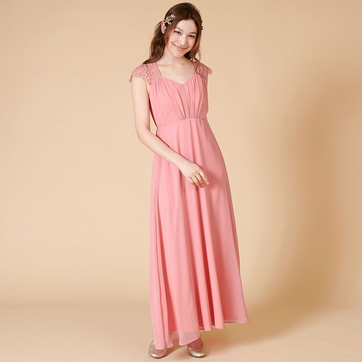 11dc88347a477 レースとシフォンのコンビネーション・ブライズメイドドレス。 Bridesmaid ブライズメイド DRESSPEOPLE ドレスピープル pink
