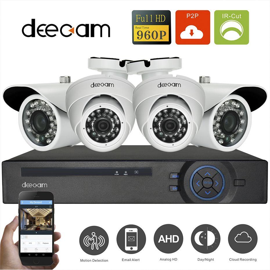 4CH DVR 960P AHD Video Surveillance Cameras 24 IR Leds Night ...